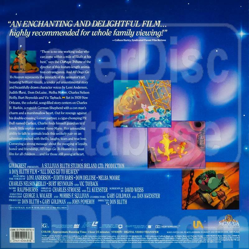 Laserdisc Database All Dogs Go To Heaven Ml102043