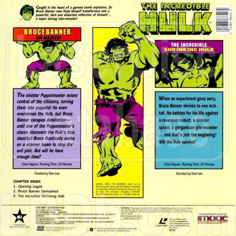 LaserDisc Database - Incredible Hulk: Bruce Banner Un-Masked!/The
