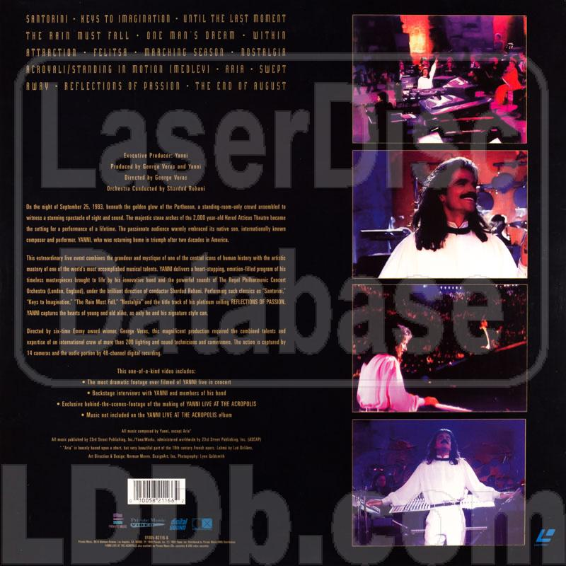 LaserDisc Database - Yanni: Live at the Acropolis With the