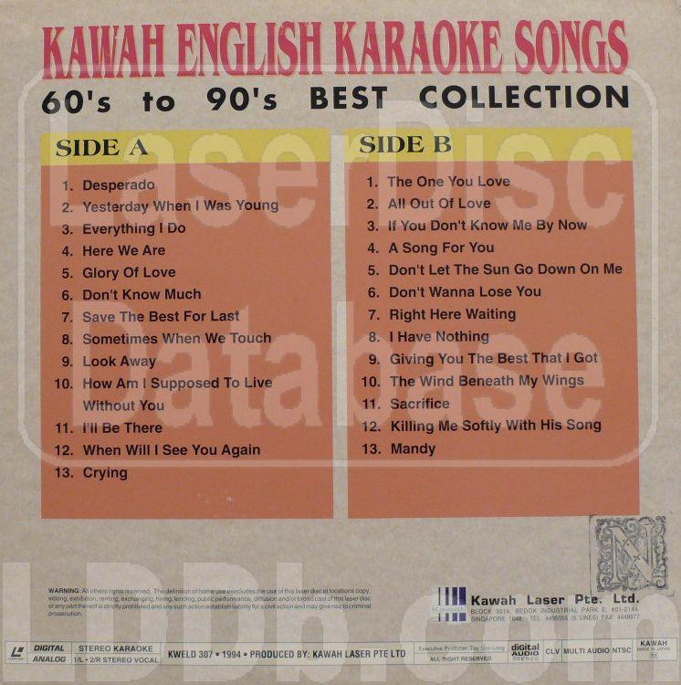 LaserDisc Database - Kawah English Karaoke Songs: 60's to 90's Best